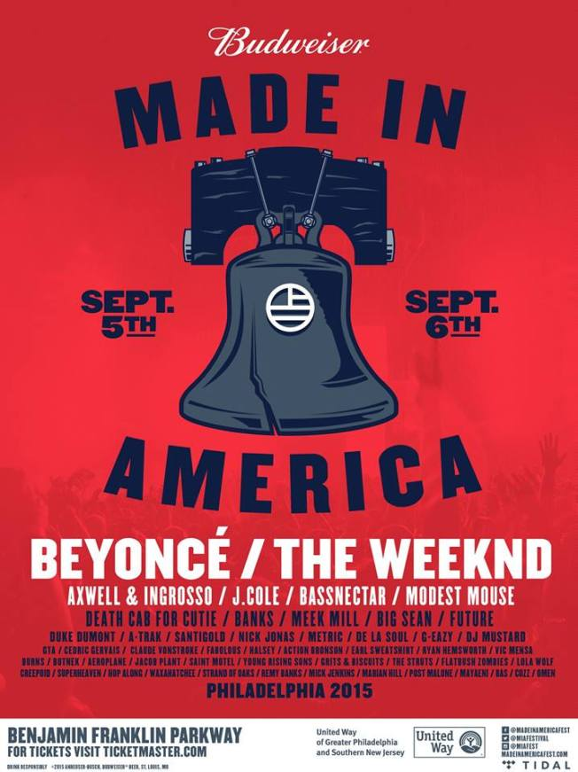 made in america 2015 lineup   beyonce, J Cole, The Weeknd