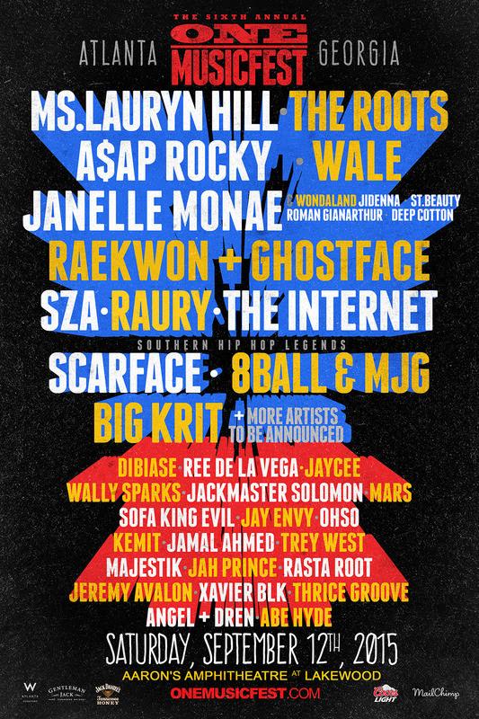 2015 ONE Musicfest lineup, Lauryn Hill, ASAP Rocky, Wale, Janelle Monae, The Internet, SZA, Raury, Scarface