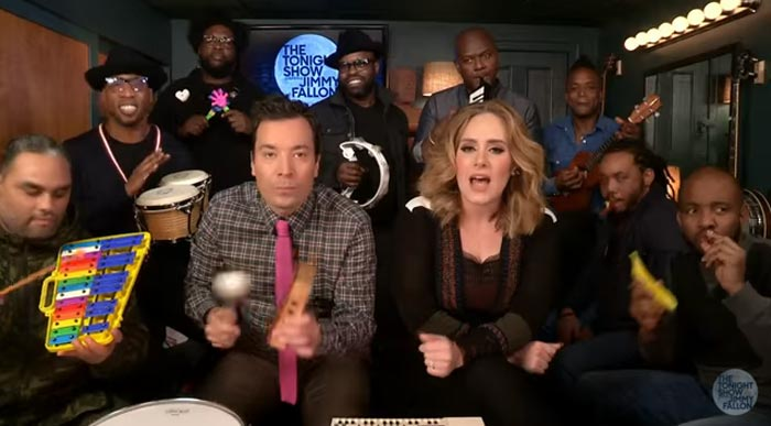 adele, jimmy fallon, the roots